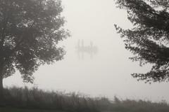 Fishing in the Fog (KateMo1989) Tags: fishing boat silhouette three men trees fog morning plants iowa nature lake