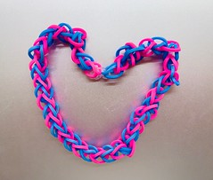 Sweet handmade bracelet, a gift from the ever busy, generous, first-grader Corinne (Monceau) Tags: pink blue bracelet rubberbands tiny handmade corinne stretchy heart 293365 365picturesin2019 365the2019edition 3652019 day293365 20oct19