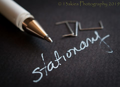 Stationary stationary (HMM) (13skies) Tags: pen macro happymacromonday write whiteink ink blackpaper macroscopic hmm sony happymacromondays staples close macromondays handwriting stationary stationery