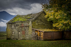 Nature takes it back. (Paul Rioux) Tags: old decayed decay house barn farm rural country chilliwack mountains clouds dilapidated moss prioux