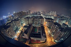 No protests in this part of Hong Kong (PeterThoeny) Tags: kowloon hongkong whampoa hotel city cityscape skyline building architecture skyscraper highrise sky night haze outdoor sony sonya7 a7 a7ii a7mii alpha7mii ilce7m2 fullframe rokinon12mmf28 fisheye fisheyelens wideangle 3xp raw photomatix hdr qualityhdr qualityhdrphotography harbourgrandkowloon harbourgrandhotel harbourgrand fav100