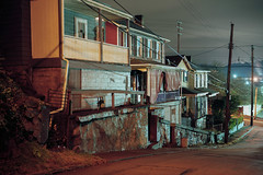 (patrickjoust) Tags: fujica gw690 kodak portra 160 6x9 medium format 120 rangefinder 90mm f35 fujinon lens cable release tripod manual focus analog mechanical patrick joust patrickjoust usa us united states north america estados unidos small town industrial night after dark long exposure row house home porch braddock pa pennsylvania wires street hill mon river valley