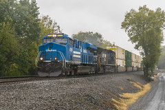 19-7821 (George Hamlin) Tags: virginia bristow railroad freight train intermodal norfolk southern railway ns 214 heritage unit livery special scheme conrail trees sky double stack containers photodecor george hamlin photography general electric