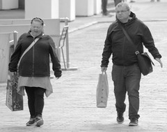 Shoppers in Chester (Tony Worrall) Tags: county street photography couple cheshire candid chester people english place sale stock visit location buy british account sell item bought instagram ilobsterit urban woman man shop nice image walk streetphotography class bags caught carry candidphotography photohour
