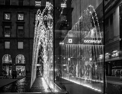 Milano, what else? (Gian Floridia) Tags: applecentre milano nespresso piazzettaliberty architecture architettura bn bw bienne bluehour fontana glass notturno reflections riflessi vetro whatelse milan provinceofmilan italy