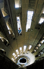 Down the Staircase - Inside the Tower, Sagrada Familia, Barcelona, Spain (TravelsWithDan) Tags: man candid city urban church sagradafamilia tower staircase lookingdown agaudi barcelona spain europe canong3x