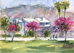 Grant Park (Sherry Schmidt) Tags: art painting pleinair watercolor watercolour pen sketch sketchbook city pasadena california mountains trees pink palms buildings