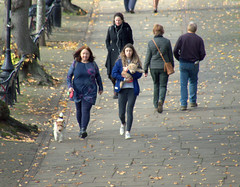 On the Riverside walk by Chester (Tony Worrall) Tags: streetphotography candidphotography candid street people female woman walking chester cheshire riverside english british country county buy sell sale bought item stock ilobsterit instagram account nice autumn fall season seasonal location fun group dog doggy leaves