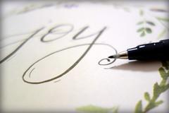 Hand-lettered Joy [Macro Mondays][Stationery] (Mrs. Trusty) Tags: stationery calligraphy pen handlettering macromondays