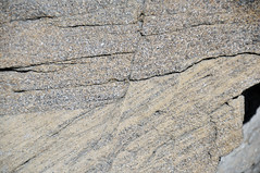 Faulted sandstone (Ericson Sandstone, Upper Cretaceous; hairpin curve roadcut along Superior Cutoff Road, east of Superior, Wyoming, USA) 3 (James St. John) Tags: normal fault faults ericson sandstone cretaceous superior wyoming crossbeds crossbedding crossbedded cross beds bedding bedded