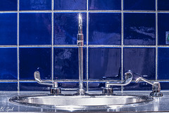 Bathroom bling and the blues. (Take Two) Tags: bathroom sink sparkle blues stainless steel tiles groutlines ceramictiles shine artistic creative imaginative handles faucett