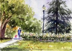 Memorial Park (Sherry Schmidt) Tags: art painting pleinair watercolor watercolour park trees plants roses whiteflowers landscape city pasadena california