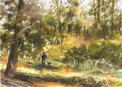 Bailey Canyon Park (Sherry Schmidt) Tags: art painting pleinair watercolor watercolour park trees trails landscape sierramadre california city green