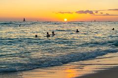Kuhio Beach (fate atc) Tags: hawaii kuhiobeach pacificocean sunset waikiki water boats surfing swimming yachts