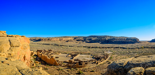 """Pueblo Bonita from  the mesa above. From here the classic """"D"""" shape of Chacoan great houses is easy to see."""