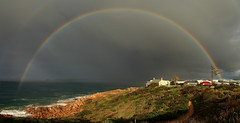 Pot of Gold (Darren Schiller) Tags: portelliot southaustralia fleurieupeninsula australia beach clouds coast rainbow panorama rocks waves sea ocean storm rain weather morning