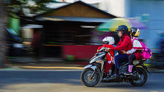 Dad Do In the Morning (yanuarpotret) Tags: panning morning motorbike father child people streetphotography landscape activity transportation