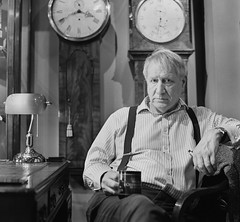 M. C. Taylor The Master Clockmaker (Attila Pasek (Albums!)) Tags: blackandwhite analogue hp5 bronicasqa horologist mctaylormasterclockmaker mediumformat clockmaker camera 120film profession clock ilford film bw