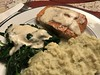 Broiled Alaskan sockeye salmon and sautéed spinach in mustard sauce, with mashed Japanese sweet potatoes (TomChatt) Tags: food homecooking