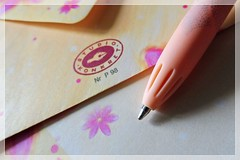 ready to write a letter... :) (green_lover (your COMMENTS are welcome!)) Tags: paper pen envelope stationery macromondays macro yellow pink frame