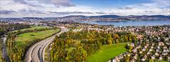 Approaching the city (janos radler) Tags: züri zürich swiss city switzerland aerial drone panorama dronephotography zürisee brunau allmend autumn fall