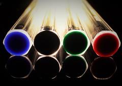 Bic Biro Bases..x (Lisa@Lethen) Tags: macromondays bic biro pens torch light colours hmm mm stationery
