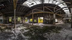Werkhalle 4 / Teil 2 (Panasonikon) Tags: panasonikon panasonic dmcg81 walimex75 fisheye panorama fabrik lostplaces verfall industrie industry ruine niedergang