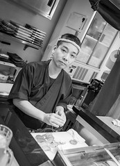 Sushi Man (twomphotos) Tags: okinawa japan sea ocean blue culture nature black white streetphotography people