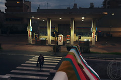 Urban temple (lightsaber*) Tags: urban street streetphotography evening stripes gas station oil milan italy naviglio night lights suburb temple modernist architecture milano italia concete neon