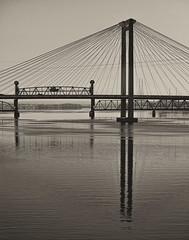 Pasco-Kennewick Bridge (oldbourbonguy) Tags: bridges columbiariver kennewick railroadbridge washington unitedstatesofamerica pasco pascokennewick bridge bw