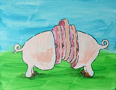 GMO Piggy. (Weldon Alley) Tags: pork pig gene modified gmo slice food meat paint art cartoon