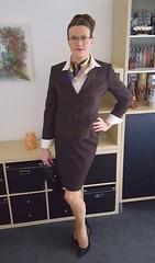 Properly dressed... (Rikky_Satin) Tags: silk satin blouse pinstripe skirt suit pantyhose nylons highheels vinyl pumps handbag scarf crossdresser transvestite tgirl secretary