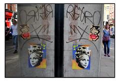 STREET ART PASTE UPS by RIP ARTIST & ANNA LAURINI. (StockCarPete) Tags: reflection window streetart londonstreetart ripartist annalaurini pasteups bricklane shoreditch shoreditchart london uk