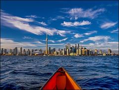 Harbour Canoe (Rodrick Dale) Tags: harbour canoe toronto skyline lake ontario canada water sky cloud city