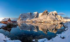 The Most Beautiful Fishing Village II Reine Norway 🇳🇴 (CK NG (choookia)) Tags: themostbeautifulfishingvillage reine norway fishingvillage lofoten reflection sunrise bluesky mountain snowmountain snowvillage panorama