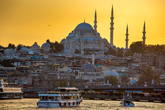 The Mosque.jpg (ujnip) Tags: sunset turkey water boat evening