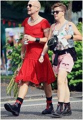 Brighton Community Pride 2019: Put on your red dress baby, ya know we're coming out tonight! (pg tips2) Tags: lgbtq lgbt community costumes colour brighton pride lyrics song picture highheelsneakers tommytucker