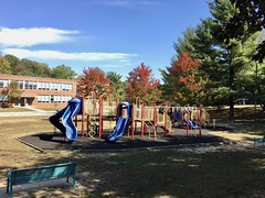 Cross Country School playground (karma (Karen)) Tags: baltimore maryland crosscountryschool playgrounds benches trees fallcolors shadows iphone hbm