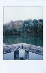 Early Morning Stillness (lancekingphoto) Tags: meltonlake water calm dock fallcolors fujifilminstaxmini90 instantfilm polaroidweek