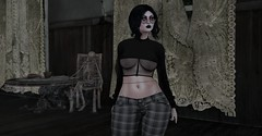 In the House of Dead Memories (Miru in SL) Tags: second life sl alternative fashion skeleton drd death row designs vinyl mesh clothing maitreya genus doe hair accessories glasses piercings suicide girls gothic haunted house mm1 mm3 gacha dark darkfire brooke top luna group gift rare
