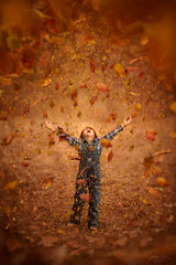 Fall Fun ({jessica drossin}) Tags: jessicadrossin boy kid child childhood orange leaves fall leaf autumn seasons happy cute surreal face overalls blue wwwjessicadrossincom