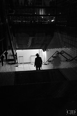 It Is Better To Make Small Steps In The Right Direction Than To Make A Great Leap Forward Only To Stumble Backward (CJD imagery) Tags: hat myfujifilm fujinonxf1855mmf284rlmois fujifilm fujifilmxt3 monochrome blackwhitephotography blackandwhitephotography blackwhite blackandwhite stairs reflections silhouette nightphotography night autumn people cityphotography city man boy male storytelling candidphotography candid streetphotography street londonunderground london cityofwestminster westminster england gb greatbritain uk unitedkingdom