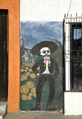 Mural Oaxaca Day of the Dead Mexico (Ilhuicamina) Tags: oaxacan art walls paintings diademuertos murals skeletons door window santiaguitoetla