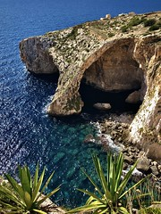 Blue Grotto, Malta (__ PeterCH51 __) Tags: iphone peterch51 malta cliffs bluewater bluesea bluegrotto arch naturalwonder naturalwonders bluecave naturalarch