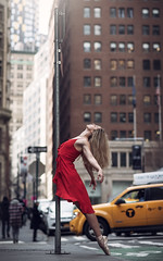(dimitryroulland) Tags: nikon d750 85mm 18 dimitryroulland ny nycity red dress pointe dance dancer ballet ballerina urban street city natural light taxi yellow cab performer art artist