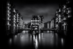Speicherstadt Monochrome (Cyclase) Tags: hamburg germany deutschland cityscape outdoor outside city night sunset illuminated bw monochrome hafen harbour waterfront water blackanwhite wasser bridge brücke wolken clouds sky himmel sw stadt sonnenuntergang ngc elitegalleryaoi bestcapturesaoi aoi