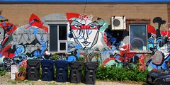 Alley art, Parkdale, Toronto (edk7) Tags: olympusomdem5 edk7 2018 canada ontario toronto parkdale alley laneway graffiti wallart mural window trashcontainer car weed trash building structure concreteblock gravel airconditioner city cityscape urban