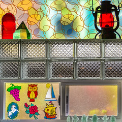 Windows In My House (Linda Sue Kocsis) Tags: window square composite photograph photography color colorful decal vintage ice block brick 2019 kocsis linda light lamp oil glowinthedark lovecraft figure sticker