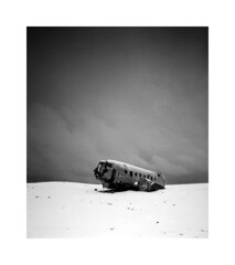 Plane wreck, Iceland before a snow storm (Christian Seifert) Tags: dc plane wreck iceland island snow storm morning long exposure pentax 645n 3355mm wide angle film analogue manual black white landscape