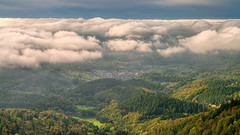 The village under the clouds (Markus Semmler) Tags: autumn cloudscape shades woods michelbach mountains hills hill clouds countryside shadows blue fall inversion landscape forest cloud trees blackforest sky green gaggenau village valley mountain